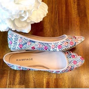 Rampage | embroidered flats pink blue size 8